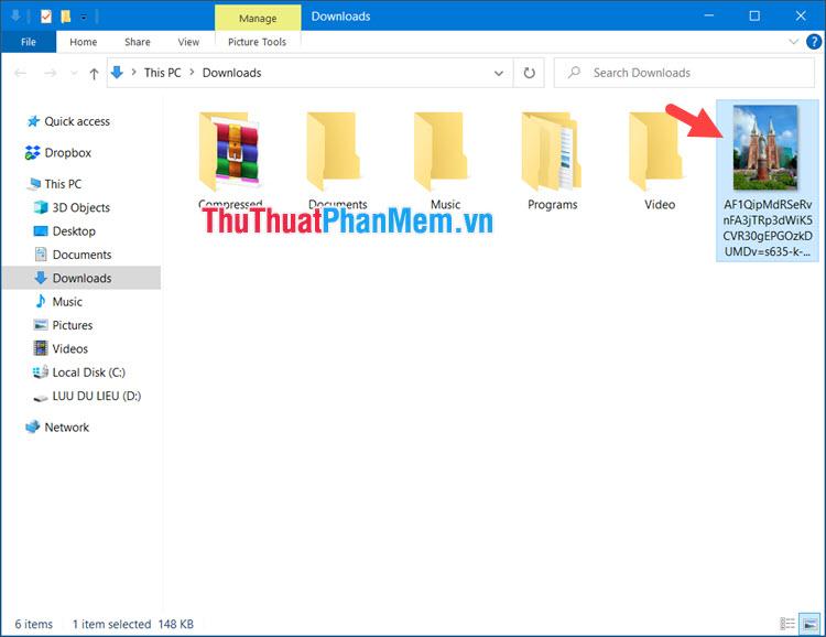 Bạn mở thư mục đã tải ảnh về và click đúp vào ảnh để kiểm tra