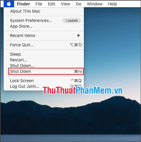 Click vào biểu tượng Apple và bên cạnh mục Shut Down là phím tắt bạn đặt là thành công