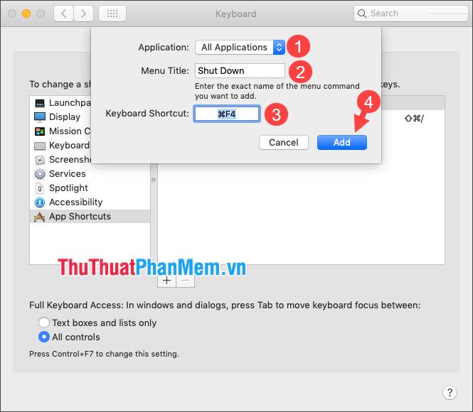 Click vào Keyboard Shortcut và bấm tổ hợp phím tắt mới