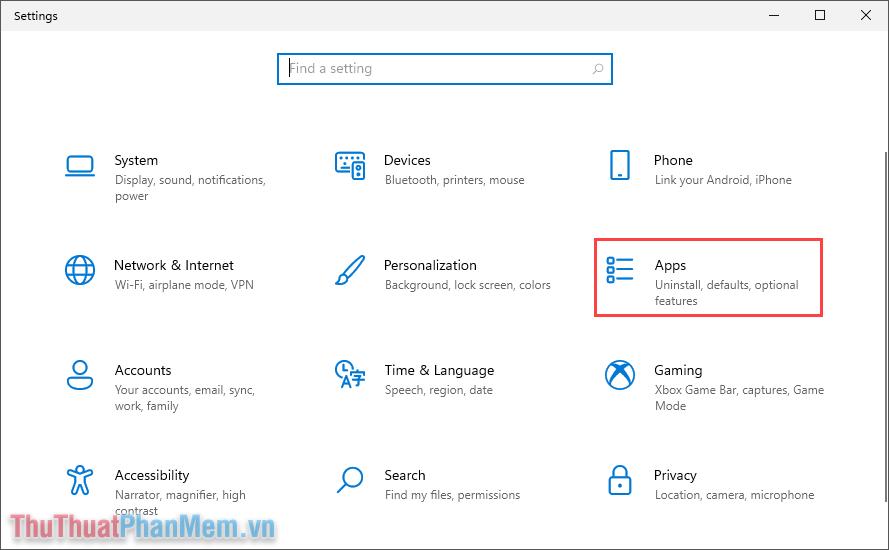 Chọn mục Apps để quản lý các ứng dụng trên máy tính