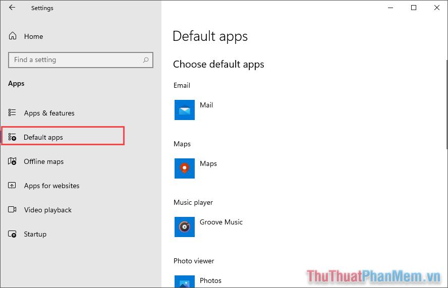 Để quản lý các ứng dụng mặc định trên máy tính Windows 11 thì bạn hãy chọn thẻ Default apps