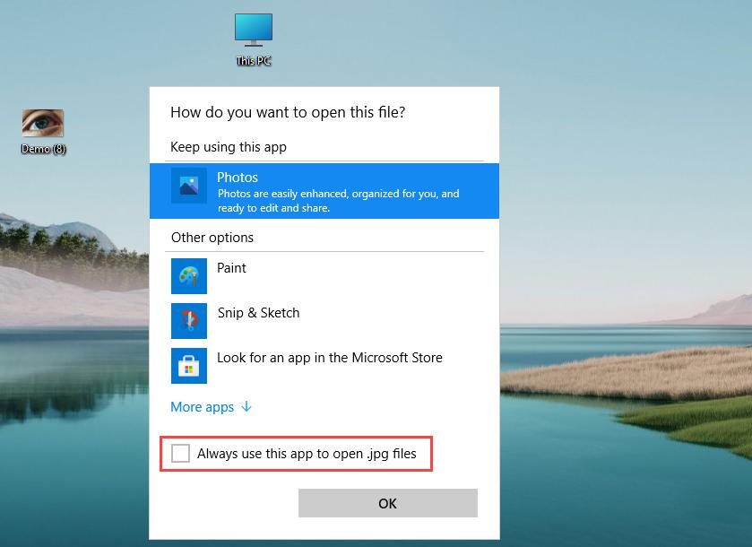 Nhấn vào Always use this app to open … files để đặt ứng dụng thành mặc định khi mở định dạng
