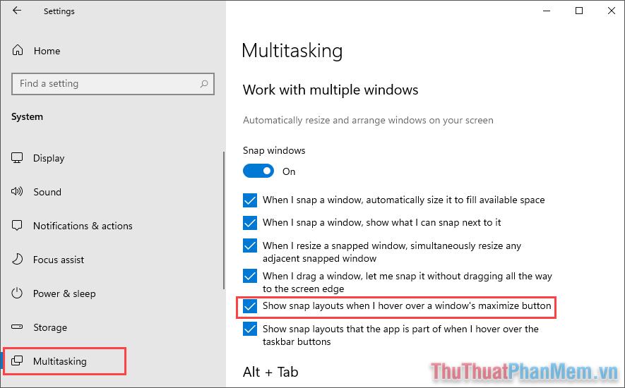 Tìm đến thẻ Multitasking và đánh dấu vào mục Show snap layouts when I hover over a windows's maximize button