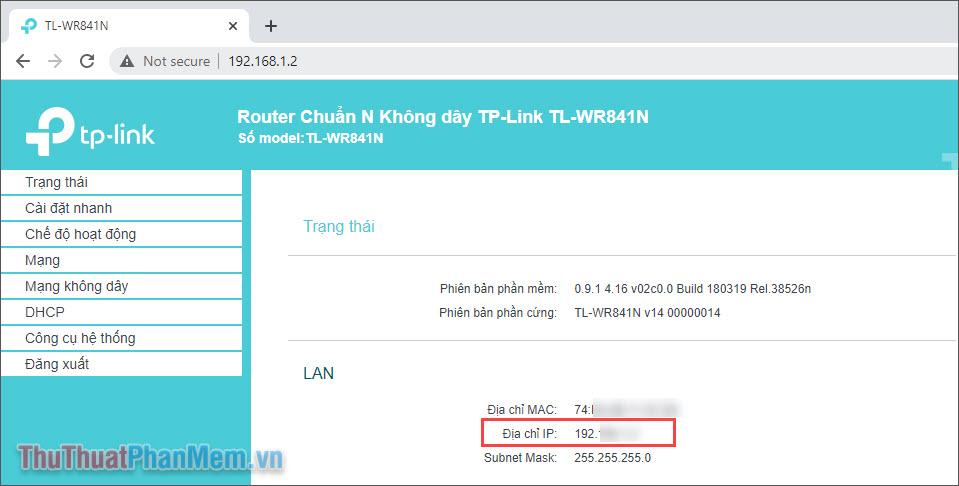Bạn sẽ thấy được địa chỉ IP WAN của máy tính trong phần trạng thái