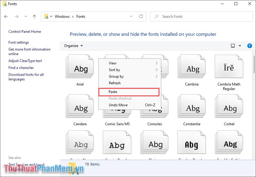 Click chuột phải và chọn Paste để dán Font chữ vào trong hệ thống