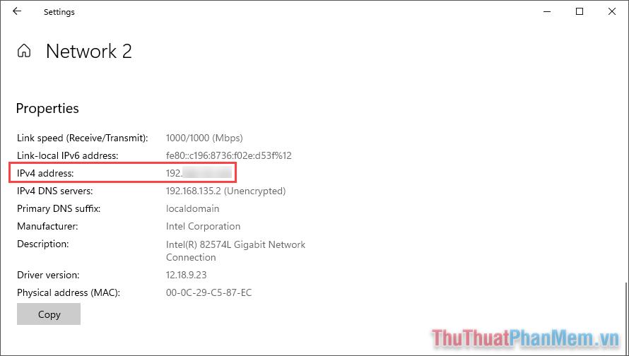 Địa chỉ IP trên máy tính Windows sẽ được hiển thị trong mục Ipv4 Address