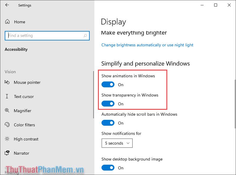 Kiểm tra mục Simplify and personalize Windows và tắt 2 tính năng bên dưới