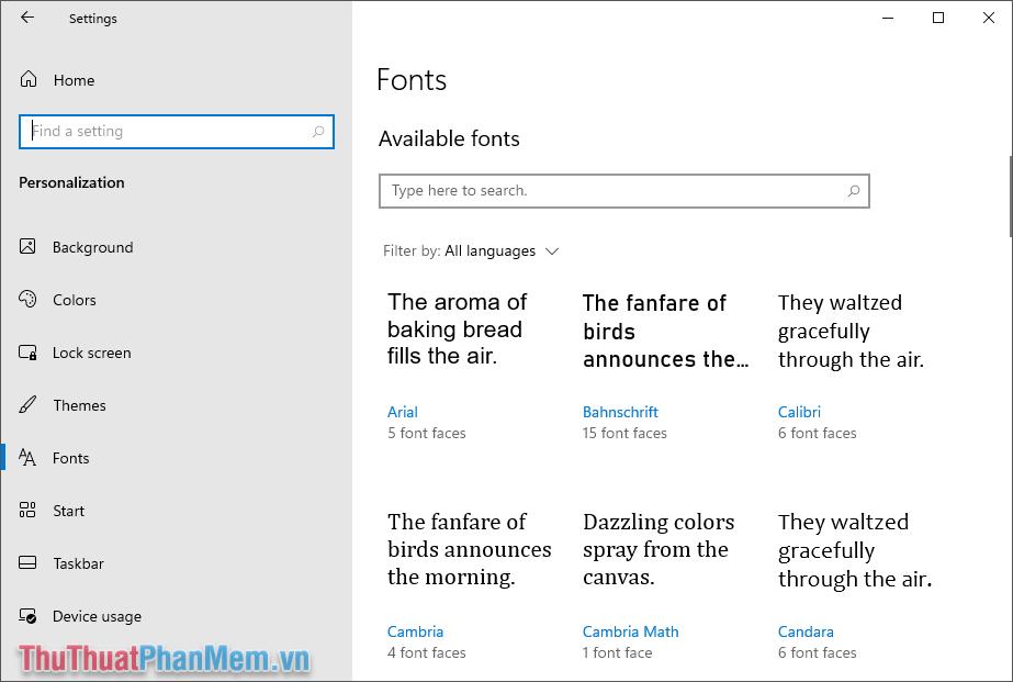 Tìm đến Font chữ cần gỡ trên máy tính thông qua tên của font
