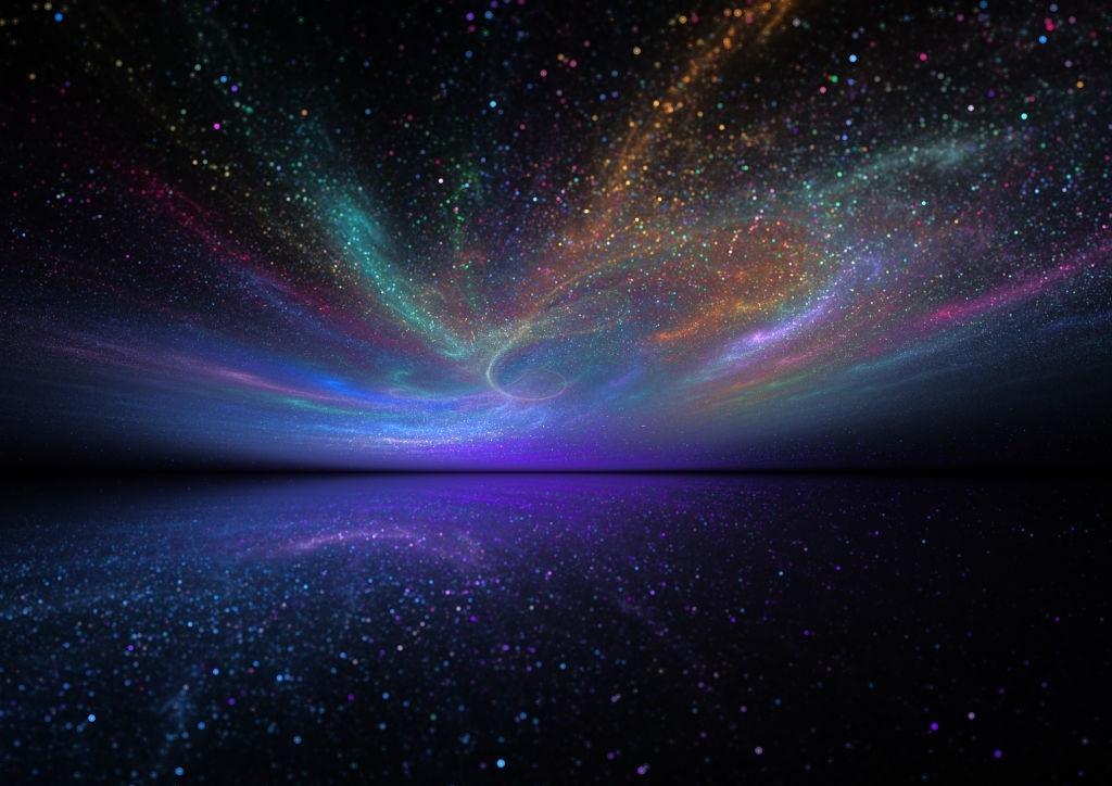 Background cầu vồng vũ trụ