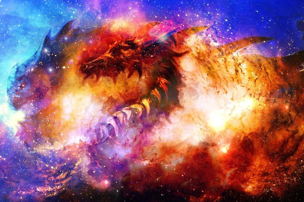 Mẫu background vũ trụ hình rồng